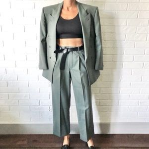 Vintage 90s double breasted 100% wool power suit green grey 36S